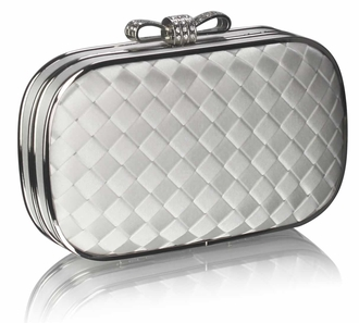 LSE0036 - Ivory Crystal Encrusted Clutch Evening Wedding Bag Purse