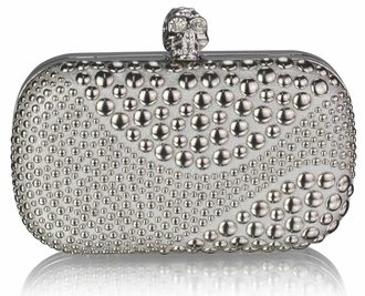 LSE0039 - Silver Studded Clutch Bag