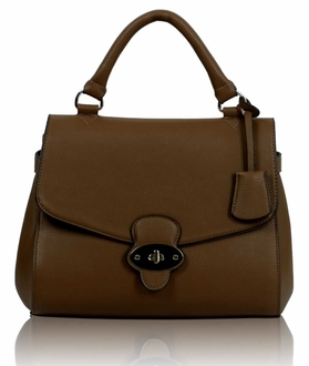 LS00107 - Coffee Flap and Twist Lock Satchel