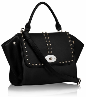 LS00178 - Studded Black Flap Satchel