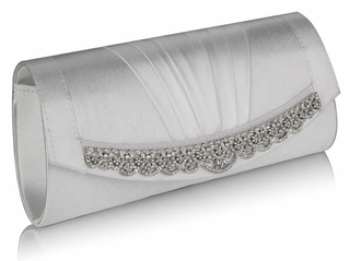 LSE00113- Ivory Sparkly Crystal Satin Clutch purse