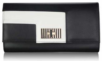 LSE00232 - Black / White Twist Lock Purse