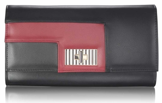 LSE00232 - Black / Burgundy Twist Lock Purse