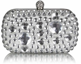LSE00210 - Ivory Sparkly Crystal Satin Clutch purse