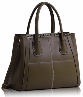 LS0030A - Nude Checkered Fashion Tote Handbag