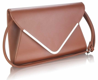 LSE00166A -  Brown Large Flap Clutch purse