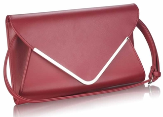 LSE00166A -  Burgundy Large Flap Clutch purse
