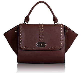 LS00178 - Studded Purple Flap Satchel