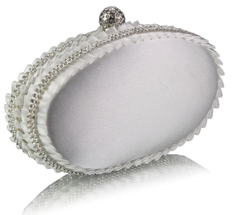 LSE0043 - Ivory Satin Clutch Bag With Crystal Decoration