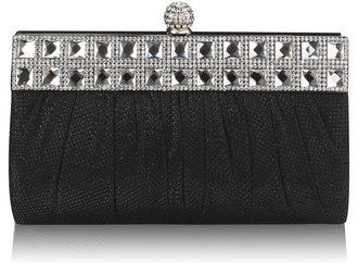 LSE0045 - Black Ruched Satin Clutch With Crystal Decoration