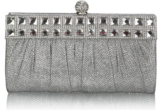 LSE0045 - Silver Ruched Satin Clutch With Crystal Decoration