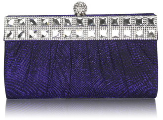 LSE0045 - Blue Ruched Satin Clutch With Crystal Decoration