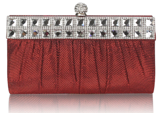 LSE0045 - Red Ruched Satin Clutch With Crystal Decoration