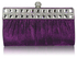 LSE0045 - Purple Ruched Satin Clutch With Crystal Decoration