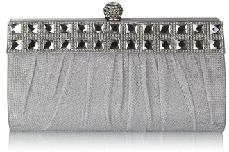 LSE0045 - White Ruched Satin Clutch With Crystal Decoration