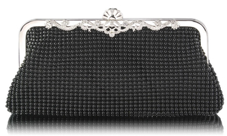 LSE0047 - Black Beaded Crystal Clutch Bag
