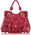 LS0012 -  Red Ruffle Tote Shoulder Bag With Buckle Detail