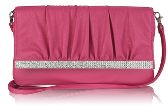 LSE00187- Pink Flapover Clutch Purse