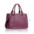 LS00184NEW - Three Top Zip Purple Tote Handbag