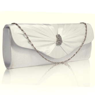 LSE0067- Wholesale & B2B Ivory Sparkly Crystal Satin Clutch purse Supplier & Manufacturer
