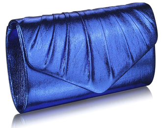LSE0068 - Blue Metallic Clutch Bag