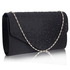 LSE0070 - Black Diamante Design Evening Flap Over Party Clutch Bag