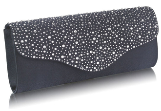LSE00253 - Navy Diamante Design Evening Flap Over Party Clutch Bag