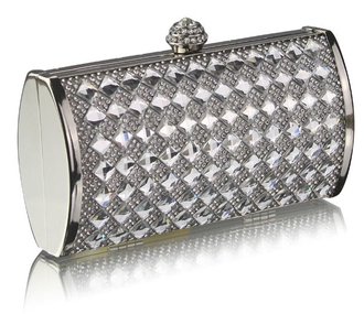 LSE00259 - Wholesale & B2B Silver Crystal Evening Clutch Supplier & Manufacturer
