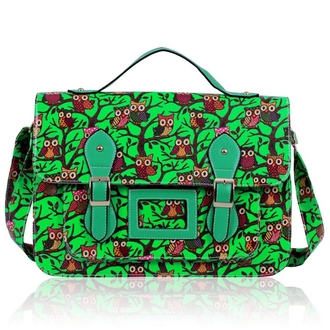 LS00226D - Green Owl Design Satchel