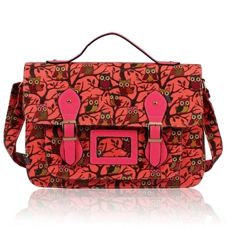 LS00226D - Peach Owl Design Satchel