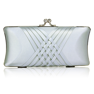 LSE0062 - Silver Satin Evening Clutch Bag
