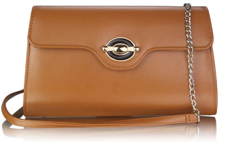 LSE00255 - Brown Twist Lock Flapover Clutch Purse