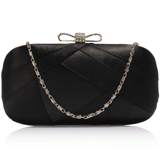 AGC00258 - Black Satin Clutch Evening Bag