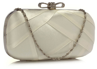 AGC00258 - Ivory Satin Clutch Evening Bag