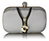 LSE00262 - Ivory Satin Clutch With Crystal Decoration