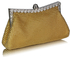 LSE00139-  Sparkly Gold Crystal Satin Clutch purse
