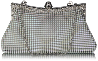 LSE00139-  Sparkly White Crystal Satin Clutch purse
