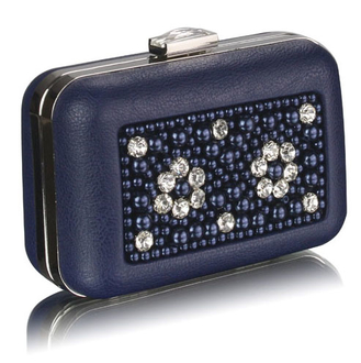 LSE00148 - Navy Beaded Box Clutch Bag With Crystal Decoration