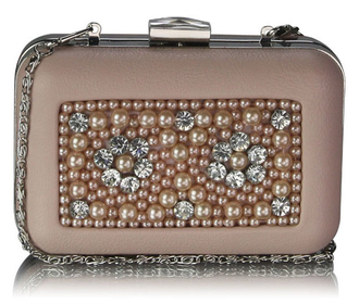 LSE00148 - Nude Beaded Box Clutch Bag With Crystal Decoration