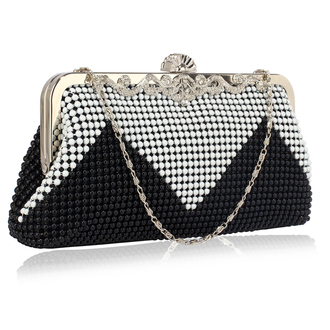 LSE0047 - Black/White Beaded Crystal Clutch Bag