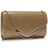 LSE00266 -  Gold Large Flap Clutch purse