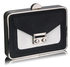 LSE00268 - Black / White Hardcase Clutch Bag With Long Chain