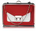 LSE00268 - Red / White Hardcase Clutch Bag With Long Chain