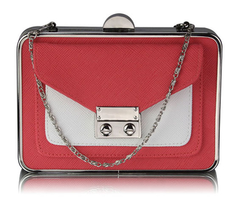 LSE00268 - Coral / White Hardcase Clutch Bag With Long Chain