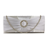 LSE00269 - Silver Sparkly Crystal Satin Evening Bag