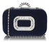 LSE00275 - Navy Sparkly Crystal Satin Evening Bag
