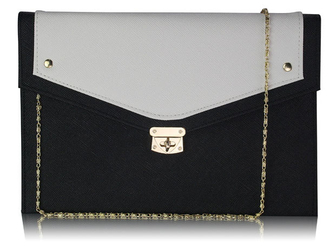 LSE00276 -  Wholesale & B2B Black/ White Large Flap Clutch purse Supplier & Manufacturer