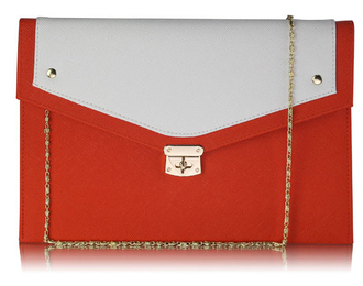 LSE00276 -  Wholesale & B2B Orange / White Large Flap Clutch purse Supplier & Manufacturer