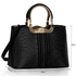LS00304 - Black Ostrich Effect Grab Tote