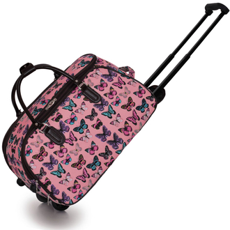 9ab83f0f148d4 LS00308A - Pink Light Travel Holdall Trolley Luggage With Wheels - CABIN  APPROVED